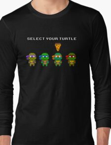 Select Your Turtle (Michelangelo) - TMNT Pixel Art Long Sleeve T-Shirt