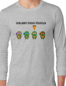 Select Your Turtle (Michelangelo) - TMNT Pixel Art Long Sleeve T-Shirt