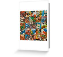 stained newspaper pages collage Greeting Card