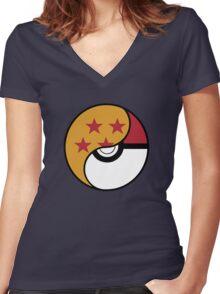 -GEEK- Pokemon X DBZ Women's Fitted V-Neck T-Shirt