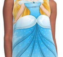 Blond Princess In Blue Dress Contrast Tank