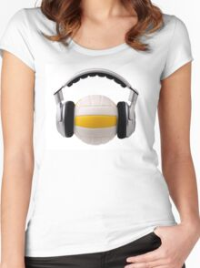 Headphones on a volleyball ball, sport and music concept Women's Fitted Scoop T-Shirt