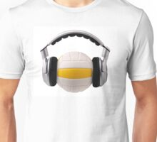 Headphones on a volleyball ball, sport and music concept Unisex T-Shirt