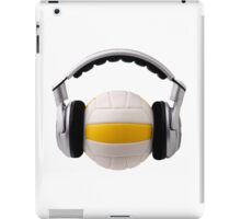Headphones on a volleyball ball, sport and music concept iPad Case/Skin