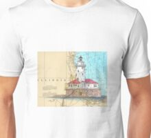 Chicago Harbor Lighthouse IL Chart Cathy Peek Unisex T-Shirt
