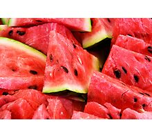 Food: slices of watermelon, arranged as background pattern, close-up shot Photographic Print