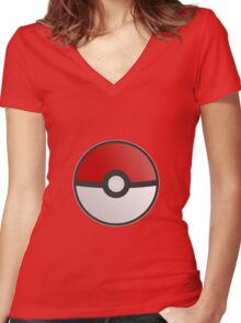 Pokemon Pokeball Women's Fitted V-Neck T-Shirt