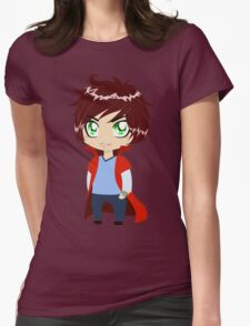 Guy In Blue Clothes Wearing Red Cape Womens Fitted T-Shirt
