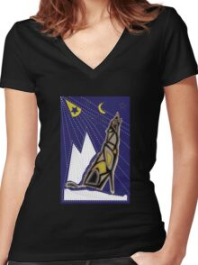 JB wolf mola Women's Fitted V-Neck T-Shirt