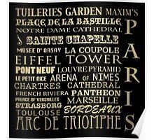 Paris France Famous Landmarks Poster