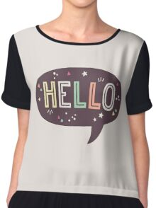 Hello Speech Bubble Typography Chiffon Top