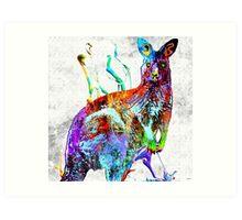 Kangaroo Grunge Art Print