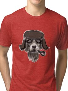 Dog with glasses Tri-blend T-Shirt