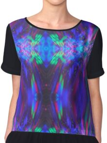 Abstract Blue Green Red Light Painting Chiffon Top