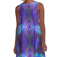 Abstract Blue Green Red Light Painting A-Line Dress