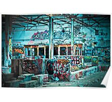 Abandoned Old Factory Covered in Colorful Graffiti Poster
