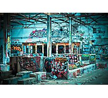 Abandoned Old Factory Covered in Colorful Graffiti Photographic Print