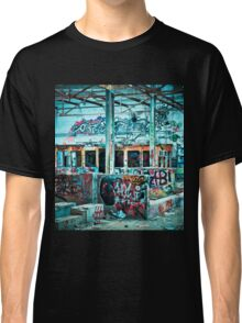 Abandoned Old Factory Covered in Colorful Graffiti Classic T-Shirt