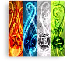 4 elements - Fire, Water, Air and Earth Canvas Print