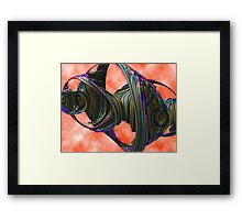 Spectral Geometry Undertow - Pink Green Blue Abstract Shapes Cloud Rendering Framed Print