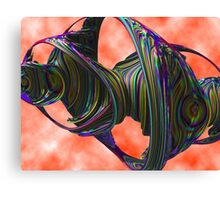 Spectral Geometry Undertow - Pink Green Blue Abstract Shapes Cloud Rendering Canvas Print