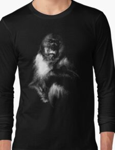 Sad Monkey, monkey black shirt Long Sleeve T-Shirt