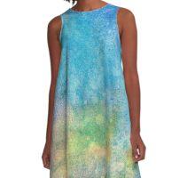 Blue Mixed  A-Line Dress