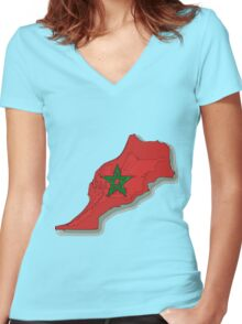 Morocco Map With Moroccan Flag Women's Fitted V-Neck T-Shirt