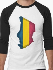 Chad Map With Flag of Chad Men's Baseball ¾ T-Shirt