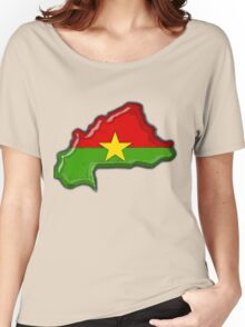 Burkina Faso Map With Flag of Burkina Faso Women's Relaxed Fit T-Shirt
