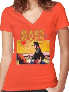 Mars Travels. Women's Fitted V-Neck T-Shirt