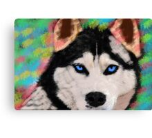 Siberian Husky Dog Colorful Art Water Color Paint Canvas Print