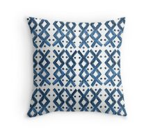 Kapa Tapa Cloth Barkcloth Geometric Tribal Crosses in Ink Blue and White Throw Pillow