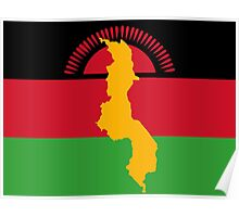 Malawai Flag With Map of Malawi Poster