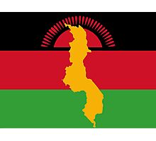 Malawai Flag With Map of Malawi Photographic Print