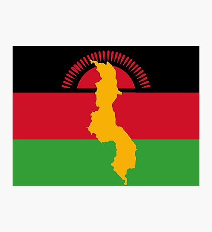 Malawi Flag With Map of Malawi Photographic Print