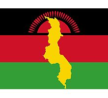 Malawi Flag Sticker With Map of Malawi Photographic Print