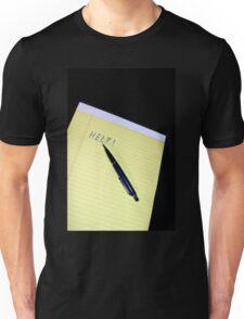 Notepad Pen Help Unisex T-Shirt