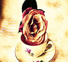 Vintage Rose & Cup Throw Pillows, Tote Bag by Vitta