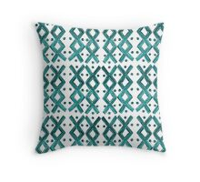 Kapa Tapa Cloth Barkcloth Geometric Tribal Crosses in Teal Aqua Blue and White Throw Pillow
