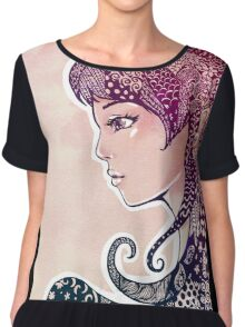 Girl with Decorative Hair Chiffon Top