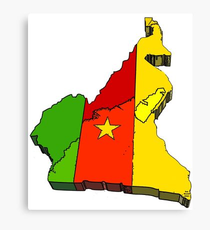 Cameroon Map With Flag of Cameroon Canvas Print