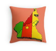 Cameroon Map With Flag of Cameroon Throw Pillow