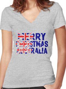 MERRY CHRISTMAS AUSTRALIA Women's Fitted V-Neck T-Shirt