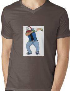 Ash Ketchum Dab Mens V-Neck T-Shirt