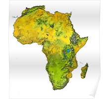 Physical African Continent Poster