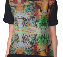 Abstract Expressionism Fractal Mirrored Painting Chiffon Top