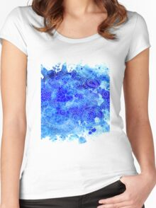 Blue Floral Pattern 02 Women's Fitted Scoop T-Shirt