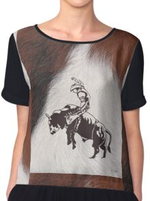 Cowboy Rodeo Bull Riding Cowhide Chiffon Top