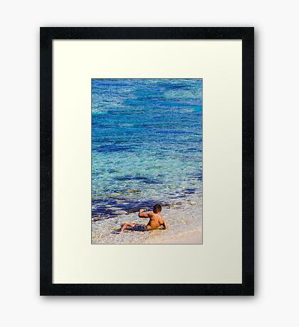 Sexy guy at the beach Framed Print